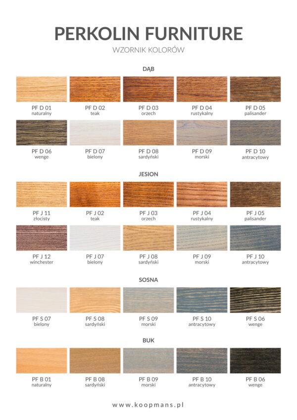 Wzornik kolorów Perkolin Furniture